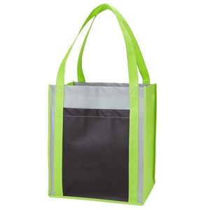 Color Combination Large Non Woven Grocery Tote Bag w/Pocket