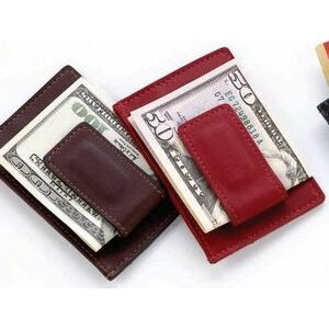 Business Leather Magnetic Money Clip Credit Card Wallet